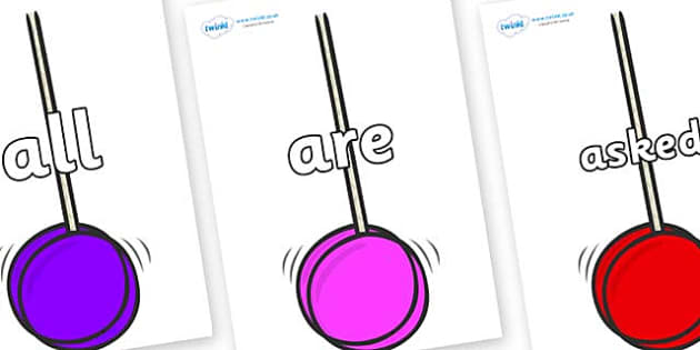 Tricky Words on Yoyos - Tricky words, DfES Letters and Sounds, Letters and sounds, display, words