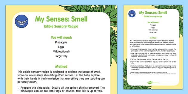 My Senses Smell Edible Sensory Recipe