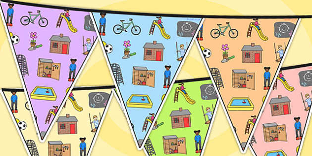 Outdoor Area Themed Bunting - outdoor, classroom areas, bunting