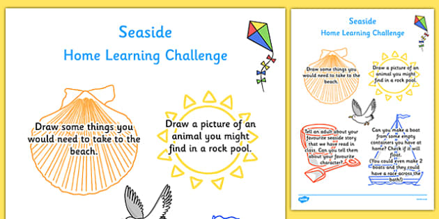 EYFS Seaside Themed Home Learning Challenge Sheet Nursery FS1
