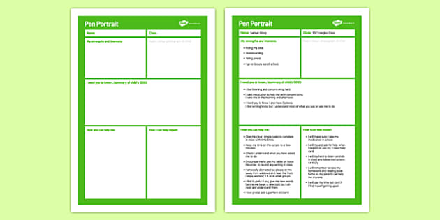 Pen Portrait Primary - pen portrait, pen, portrait, primary, sen, special educational needs