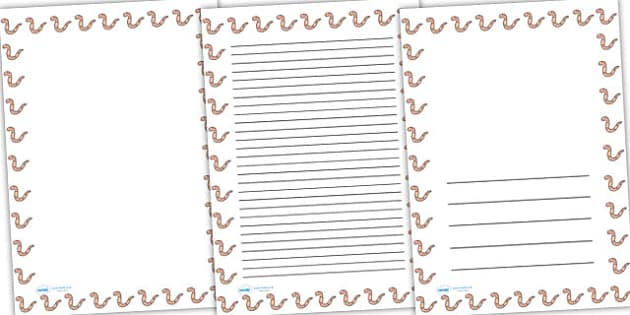 Worm Full Page Borders - page borders, worms, worm page borders, minibeast page borders, worm borders for page, A4, border for page, lined