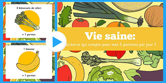 Qu'est-ce qui compte pour mes 5 portions par jour? PowerPoint French - french, what, counts, 5 a day, powerpoint