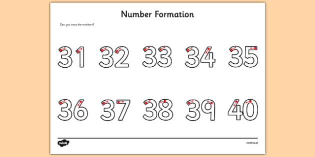 Number Formation Activity Sheet 31-40 - number formation, activity sheet, activity, number, formation, 31-40, worksheet