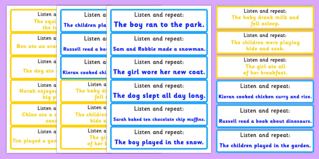 Listen and Repeat 6-7 Word Length Sentence Cards - listen, repeat