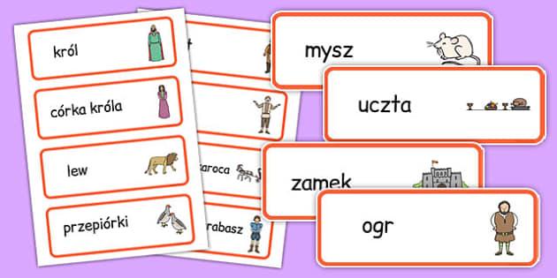 Karty ze słownictwem Kot w butach po polsku - bajki, baśnie