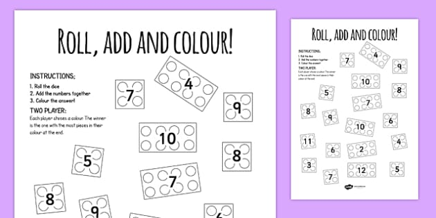 Building Brick Roll And Colour Worksheet - activities, games