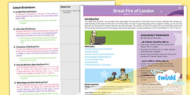 PlanIt - History KS1 - The Great Fire of London Planning Overview