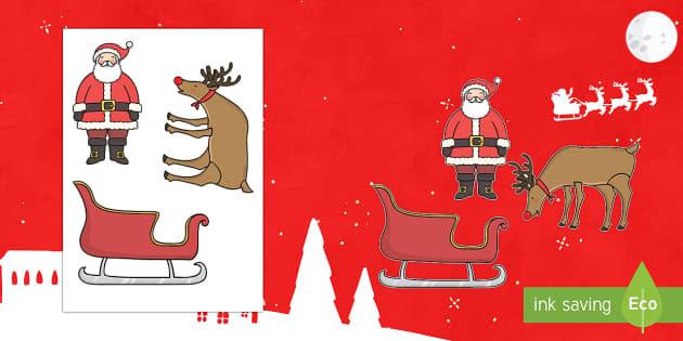 Marionetas de palo: Papa Noel y sus renos - navidad, juego simbólico, Spanish