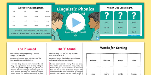 Northern Ireland Linguistic Phonics Stage 5 and 6 Phase 3b, 'r' Sound PowerPoint  - NI, sound search, word sort, investigation