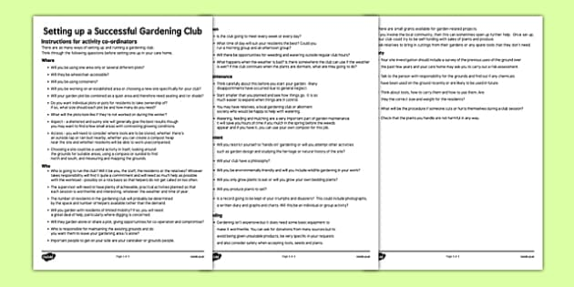 Elderly Care Gardening Club Instructions - Elderly, Reminiscence, Care Homes, Gardening Club
