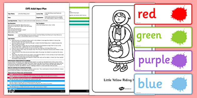 Little Red Riding Hood Read and Colour EYFS Adult Input Plan and Resource Pack - little red riding hood, read, colour