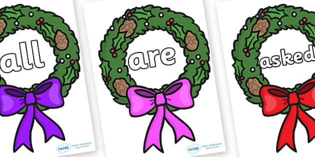 Tricky Words on Christmas Wreaths - Tricky words, DfES Letters and Sounds, Letters and sounds, display, words