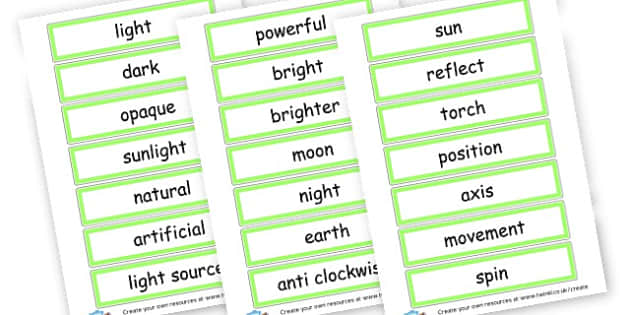 Light and Shadow Word Cards - Light & Dark Primary Resources, light and dark, topic, day, night