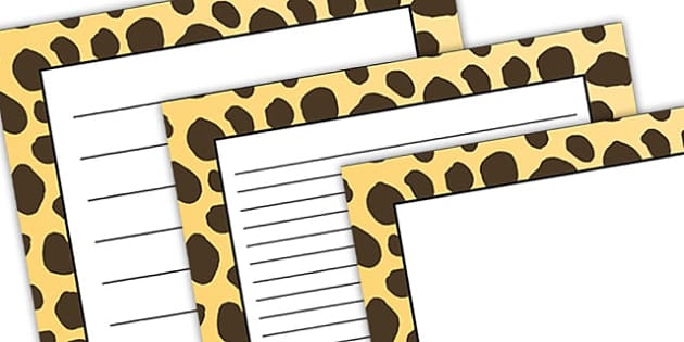 Cheetah Pattern Portrait Page Border - safari, safari page borders, cheetah page borders, cheetah pattern page borders, safari animal pattern page borders