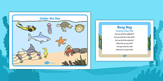 Under The Sea Finding Play Mat Busy Bag Prompt Card and Resource Pack