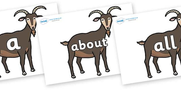 100 High Frequency Words on Big Billy Goats - High frequency words, hfw, DfES Letters and Sounds, Letters and Sounds, display words