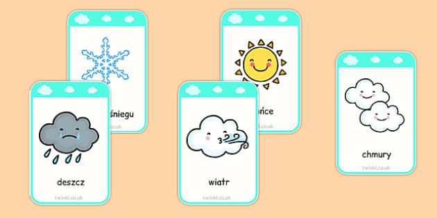 Weather Flashcards Polish - polish, weather, flashcards, flash cards