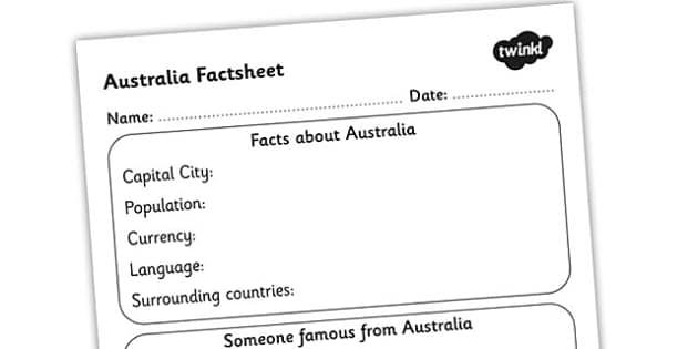 Australia Factsheet Writing Template - australia, writing, facts