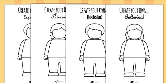 Create Your Own Building Brick Character Challenge Activity Sheet Pack, worksheet