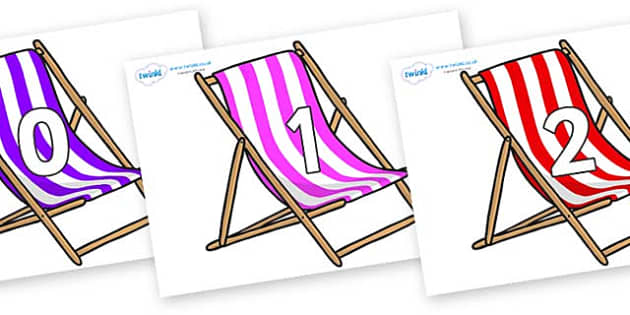 Numbers 0-50 on Deck Chairs - 0-50, foundation stage numeracy, Number recognition, Number flashcards, counting, number frieze, Display numbers, number posters