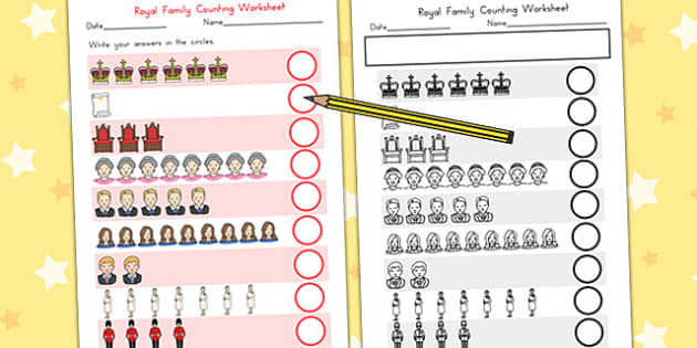 Royal Family Counting Worksheet - queen elizabeth, count, maths
