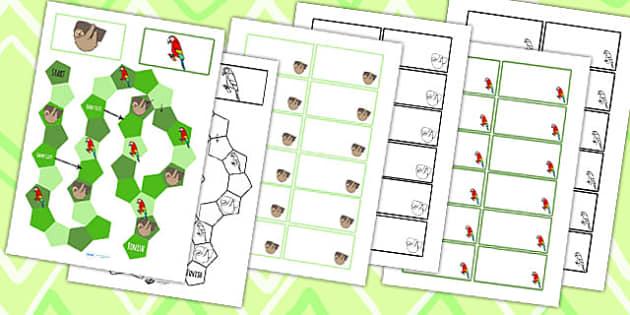 Jungle Themed Editable Board Game - jungle, board game, animals