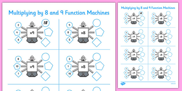 Multiplying by 8 and 9 Function Machines - CfE, Function Machines, multiplication, maths