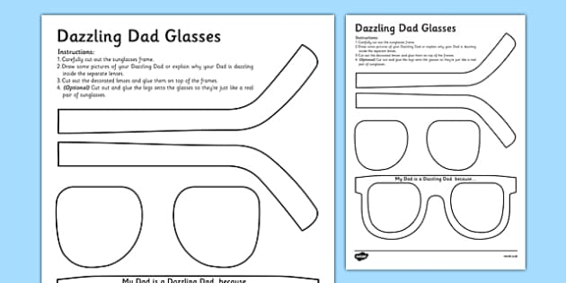 Father's Day Dazzling Dad Sunglasses Gift Craft - gift, craft, fathers day