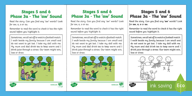 Northern Ireland Linguistic Phonics Stage 5 and 6 Phase 3a, 'aw' Sound Activity Sheet - Linguistic Phonics, Phase 3a, Northern Ireland, 'aw' sound, sound search, text, Worksheet