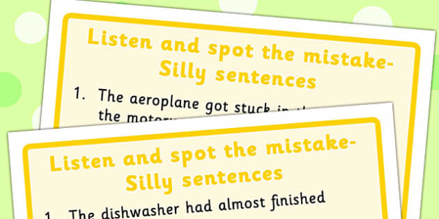 Listen and Spot The Mistake 5 - mistakes, visual, sentences