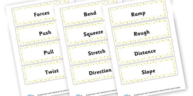 Forces vocabulary Cards - Forces & Motion Keywords Primary Resources, Magnet, magnets