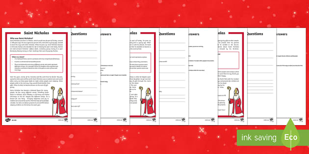 KS1 Saint Nicholas Differentiated Reading Comprehension Activity