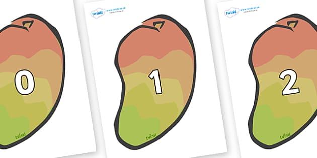 Numbers 0-31 on Mangoes - 0-31, foundation stage numeracy, Number recognition, Number flashcards, counting, number frieze, Display numbers, number posters
