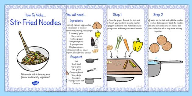 Stir Fried Noodles Recipe Cards - stir fry, noodles, recipe, card