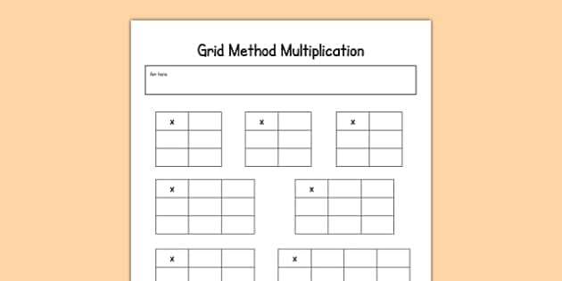Editable Grid Method Multiplication Grids maths calculation – Multiplication Using the Grid Method Worksheets