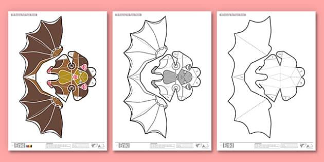 Enkl 3D Halloween Hanging Bat Printables - enkle, printable, model, paper model, paper, craft, activity, 3d, halloween, hanging bat