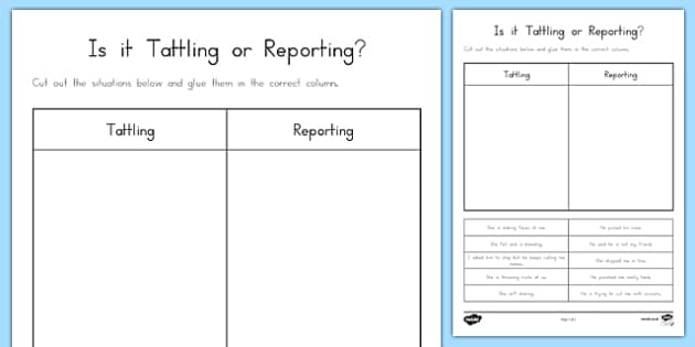 Is it Tattling or Reporting? Activity Sheet, worksheet
