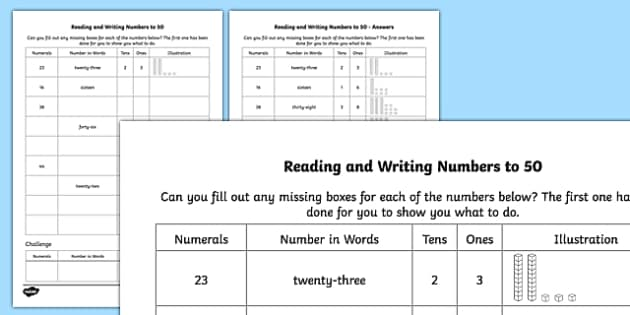 Reading and Writing Numbers to 50 Activity Sheet - reading