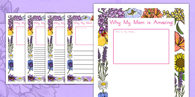 My Mom is Amazing Page Borders - usa, america, Mother's day, my mom is amazing, page border, border, writing template, writing aid, writing, Mother's day activity, Mother's day resource