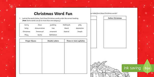 Christmas Word Fun Set 2 Activity Sheet-Australia