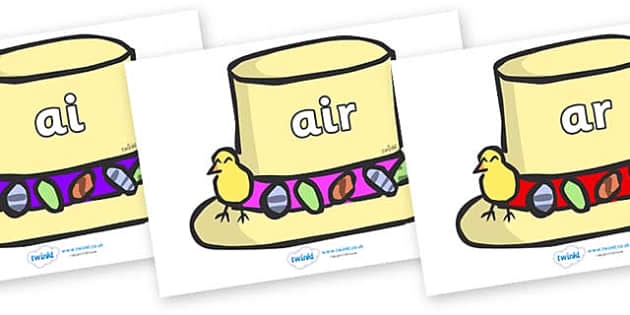 Phase 3 Phonemes on Easter Bonnets - Phonemes, phoneme, Phase 3, Phase three, Foundation, Literacy, Letters and Sounds, DfES, display