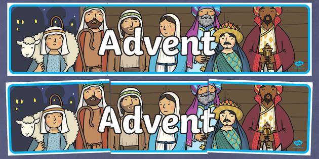 Advent Nativity Banner - Christmas, Nativity, Jesus, xmas, Xmas, Father Christmas, Santa, St Nic, Saint Nicholas, traditions