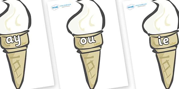Phase 5 Phonemes on Ice Creams - Phonemes, phoneme, Phase 5, Phase five, Foundation, Literacy, Letters and Sounds, DfES, display