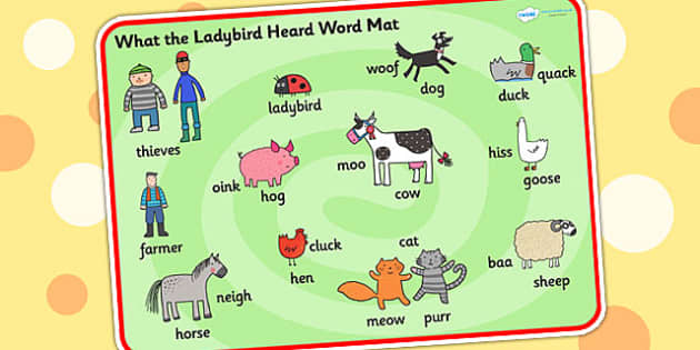 Word Mat to Support Teaching on What the Ladybird Heard - what the ladybird heard,  word mat, themed word mat, pant word mat, story word mat, topic words, key words, topic words