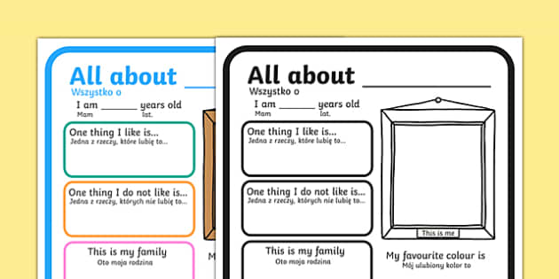 All About Me Poster Polish Translation - all about me, me poster, poster about me, ourselves poster, poster about ourselves, design a poster, poster template, poster activity, oursleves, ourselvs, tempelte, all bout me