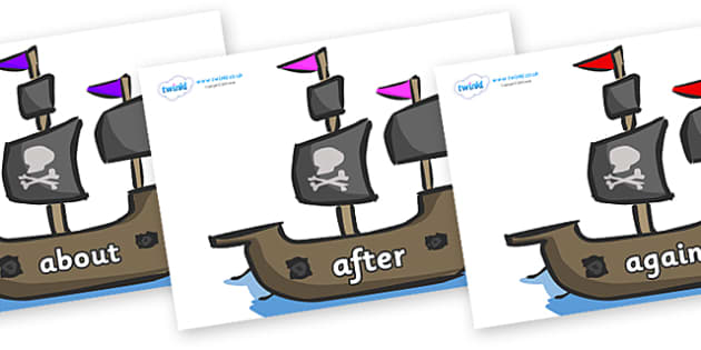 KS1 Keywords on Pirate Ships - KS1, CLL, Communication language and literacy, Display, Key words, high frequency words, foundation stage literacy, DfES Letters and Sounds, Letters and Sounds, spelling
