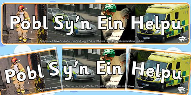 Baner 'Pobl Sy'n Ein Helpu' - display, banner, welsh