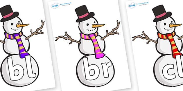 Initial Letter Blends on Snowmen - Initial Letters, initial letter, letter blend, letter blends, consonant, consonants, digraph, trigraph, literacy, alphabet, letters, foundation stage literacy