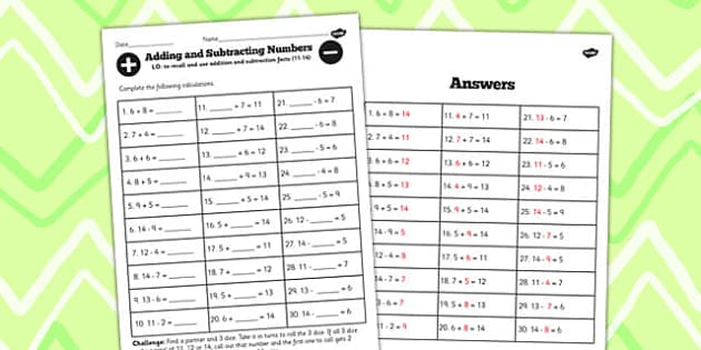 Number Facts Worksheet 11-14 One Digit - number, facts, 11, 14